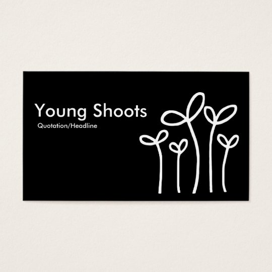Young Shoots - White on Black (alt sides) Business Card
