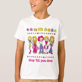 """Young Shopping Girls - """"shop 'til you drop"""" Tshirts"""