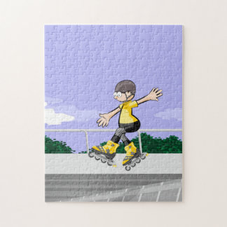 Young skate on wheels dancing in the air jigsaw puzzle