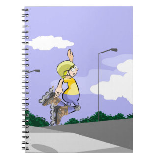 Young skate on wheels in the street giving a jump notebook