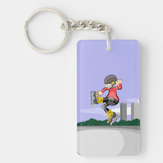 Young skate on wheels jumping intrepidly key ring