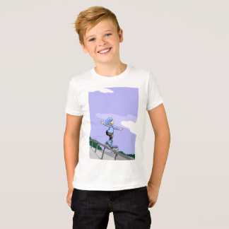 Young skate on wheels making balance T-Shirt