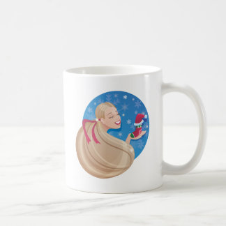 young smiling  long hair  woman  with symbol of ho coffee mugs