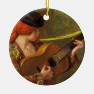 Young Spanish Woman with a Guitar by Pierre Renoir Christmas Ornament