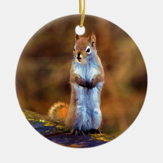 Young Squirrel Standing Tall Round Ceramic Decoration