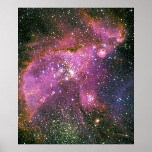Young Stars Sculpt Gas Small Magellanic Cloud Poster