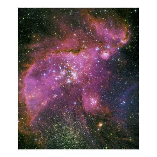 Young Stars Sculpt Gas Small Magellanic Cloud Poster
