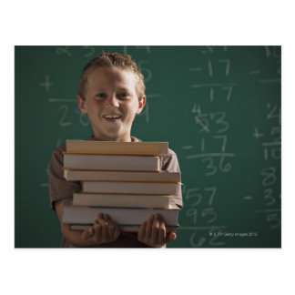 Young student in classroom postcard