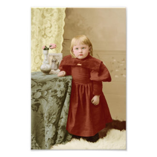 Young Toddler Victorian Girl Tinted Photographic Print