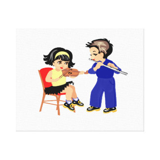 young violin n flute players graphic.png canvas print