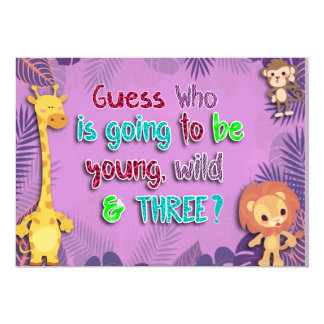 Young, Wild, and Three, Birthday Invitation