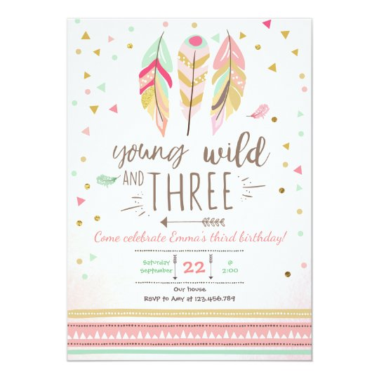 a7bb978c313c Young wild and three invite Girl Pink Gold 3rd   Zazzle.co.uk