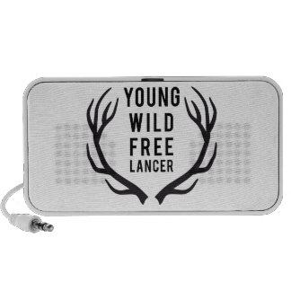 young, wild, free, freelancer with deer antlers speaker system