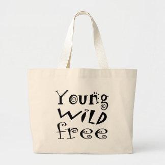 Young Wild Free - Fun Typography Text Jumbo Tote Bag