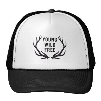 young, wild, free, text design with deer antlers cap