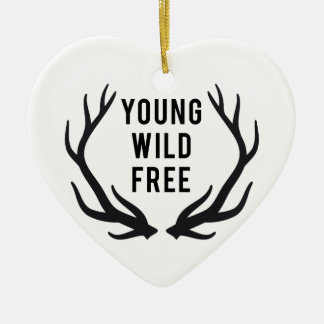 young, wild, free, text design with deer antlers christmas ornament
