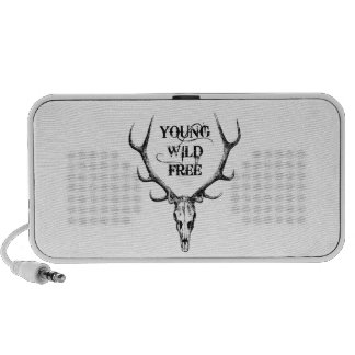 young, wild, free, text design with deer antlers speaker system