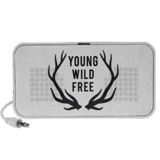 young, wild, free, text design with deer antlers iPod speaker