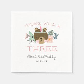 Young, Wild & Three Birthday Party Disposable Napkin