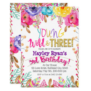 Young Wild Three Girls Boho Floral 3rd Birthday Invitation