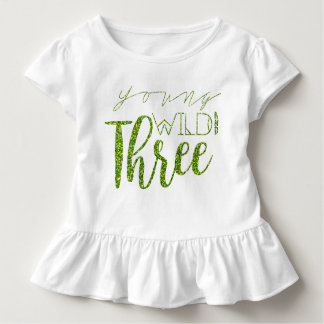 Young Wild & Three | Green Glitter | 3rd Birthday Toddler T-Shirt