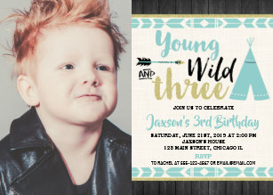 Young Wild Three Teal Gold Photo Invitation Boy