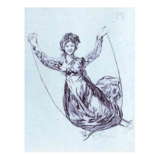 Young Witch Flying with a Rope by Francisco Goya Postcard