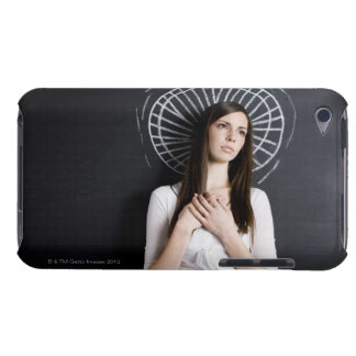 young woman against a chalkboard barely there iPod case