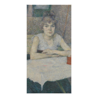 Young Woman at a Table by Henri Toulouse-Lautrec Customized Photo Card
