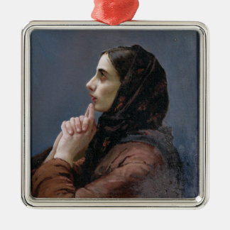 Young Woman at Prayer, 1879 (oil on canvas) Christmas Ornament