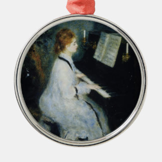 Young Woman at the Piano by Renoir Silver-Colored Round Decoration