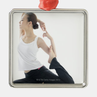 young woman beauty,yoga 2 Silver-Colored square decoration