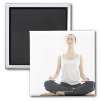 young woman beauty,yoga square magnet