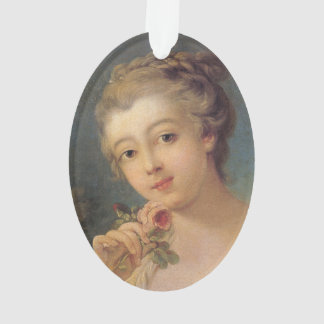 Young Woman Bouquet of Roses by Francois Boucher