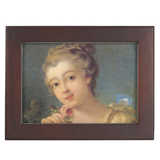 Young Woman Bouquet of Roses by Francois Boucher Memory Box