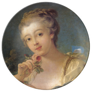 Young Woman Bouquet of Roses by Francois Boucher Porcelain Plate
