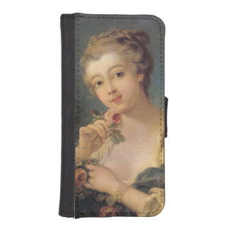 Young Woman Bouquet of Roses by Francois Boucher iPhone 5 Wallet