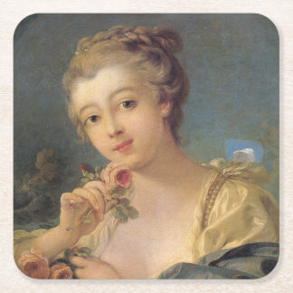 Young Woman Bouquet of Roses by Francois Boucher Square Paper Coaster