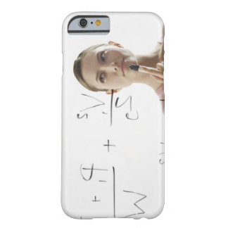 Young woman calculating equations on glass barely there iPhone 6 case