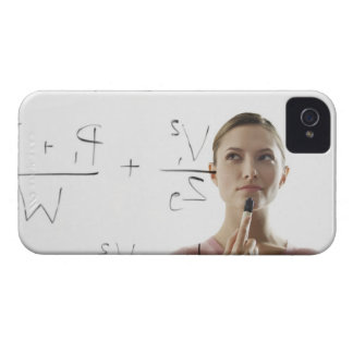 Young woman calculating equations on glass iPhone 4 Case-Mate case