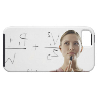 Young woman calculating equations on glass iPhone 5 covers