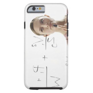 Young woman calculating equations on glass tough iPhone 6 case