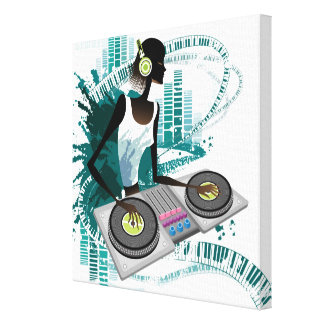 Young woman Dj Using Turntable in Nightclub Canvas Print
