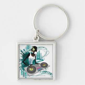 Young woman Dj Using Turntable in Nightclub Key Ring