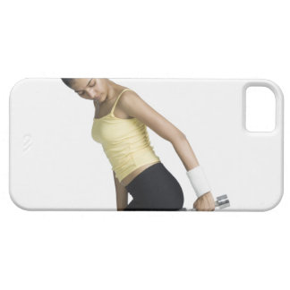Young woman exercising with a dumbbell barely there iPhone 5 case