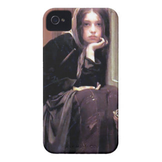 Young Woman Girl in Black Painting iPhone 4 Covers