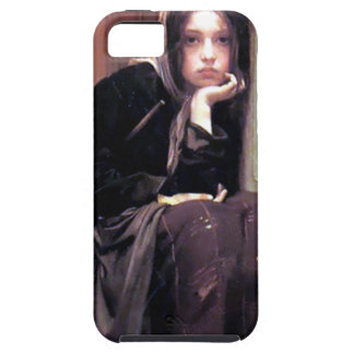 Young Woman Girl in Black Painting iPhone 5 Case