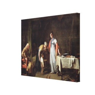 Young Woman Helping an Unfortunate Family Canvas Print