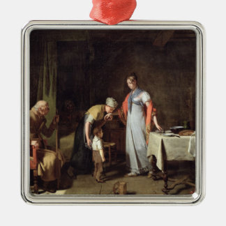 Young Woman Helping an Unfortunate Family Silver-Colored Square Decoration