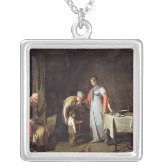 Young Woman Helping an Unfortunate Family Silver Plated Necklace